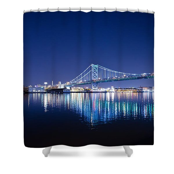 The Benjamin Franklin Bridge at Night Shower Curtain by Bill Cannon