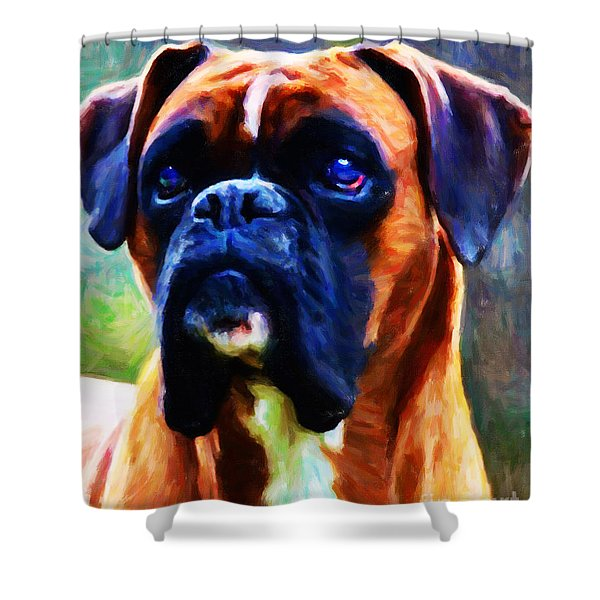 The Boxer - Painterly Shower Curtain by Wingsdomain Art and Photography