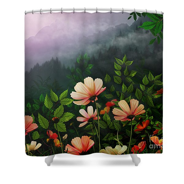The Brighter Side Of The Dark Mountains Shower Curtain by Bedros Awak