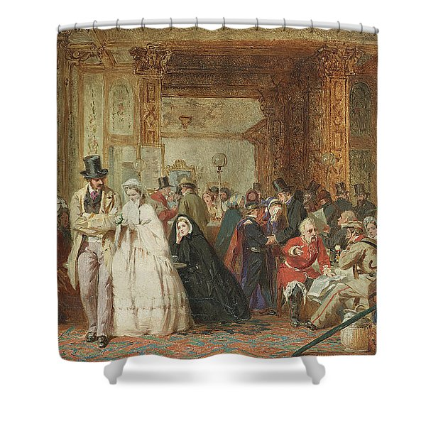 The Buffet Swindon Station Shower Curtain by George Elgar Hicks