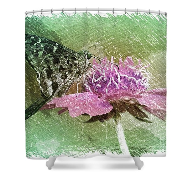 The Butterfly Visitor Shower Curtain by Carol Groenen