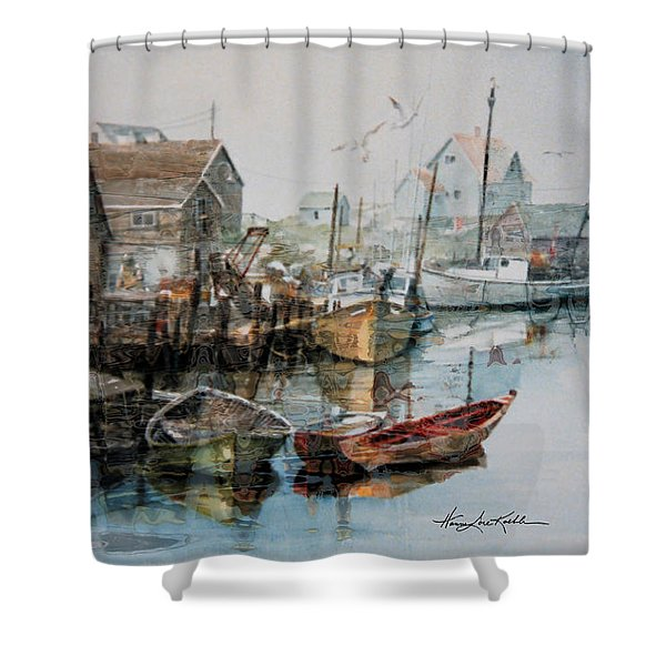 The B'y That Catches The Fish Shower Curtain by Hanne Lore Koehler