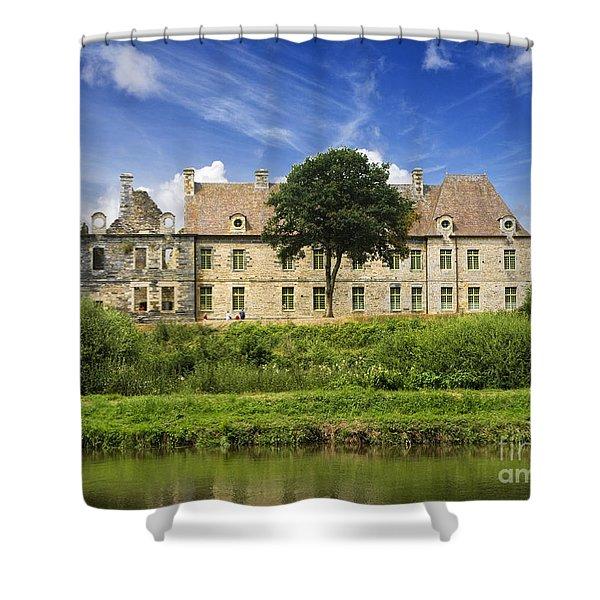 The Cistercian Abbey De Bon Repos Cotes D'armor Brittany France Shower Curtain by Jon Boyes
