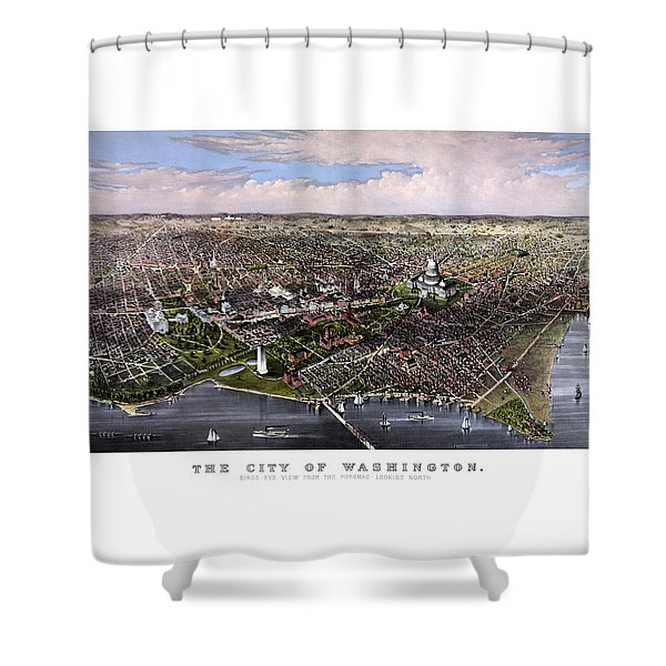The City Of Washington Birds Eye View Shower Curtain by War Is Hell Store