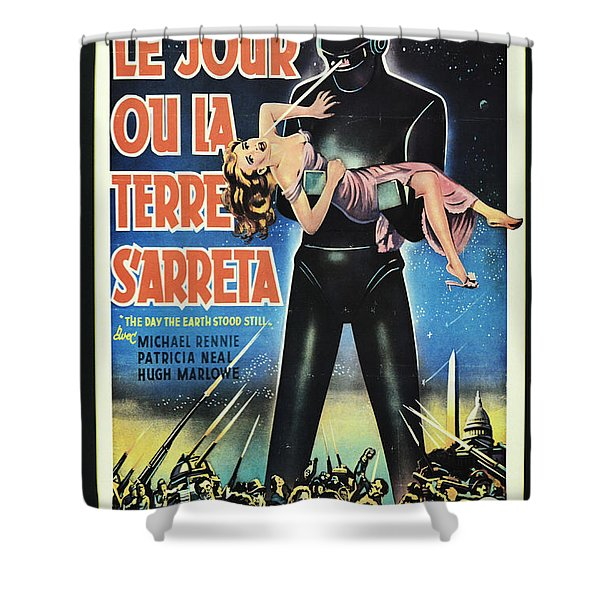 The Day The Earth Stood Still Vintage Poster Shower Curtain by Bob Christopher
