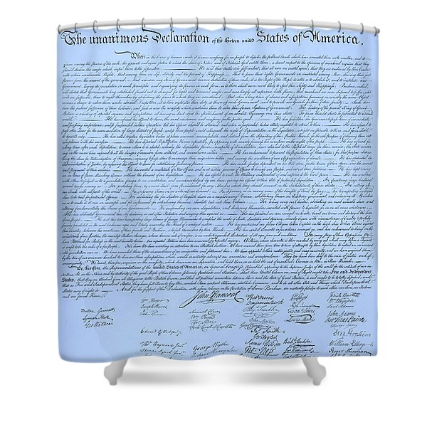 THE DECLARATION OF INDEPENDENCE in CYAN Shower Curtain by ROB HANS
