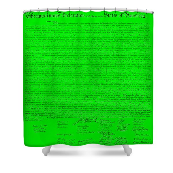 The Declaration Of Independence In Green Shower Curtain by Rob Hans