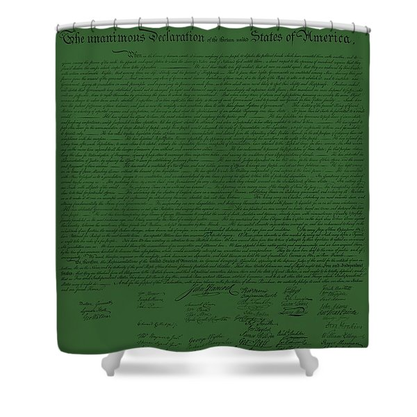 THE DECLARATION OF INDEPENDENCE in OLIVE Shower Curtain by ROB HANS