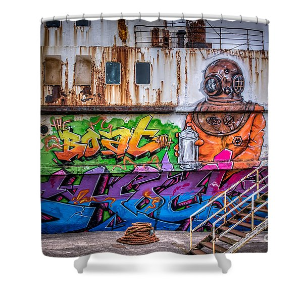 The Diver Shower Curtain by Adrian Evans