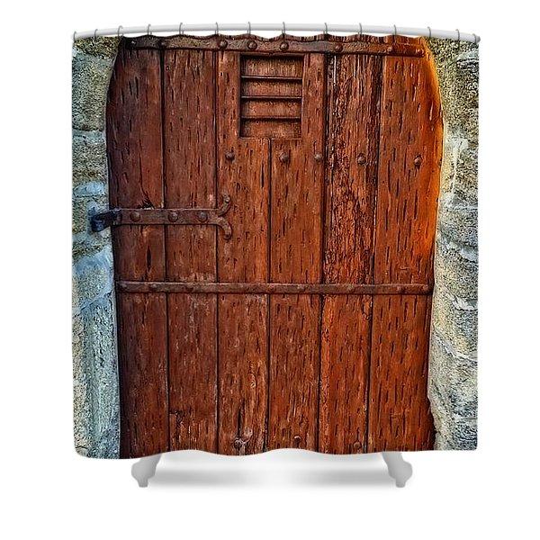 The Door - Vintage Art By Sharon Cummings Shower Curtain by Sharon Cummings