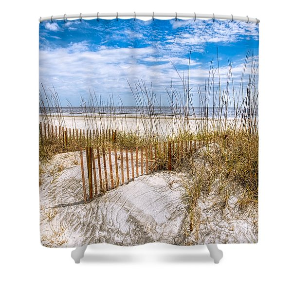 The Dunes Shower Curtain by Debra and Dave Vanderlaan