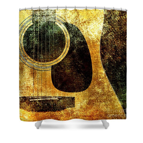 The Edgy Abstract Guitar Square Shower Curtain by Andee Design