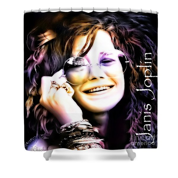 The Electric Janis Joplin Shower Curtain by Barbara Chichester