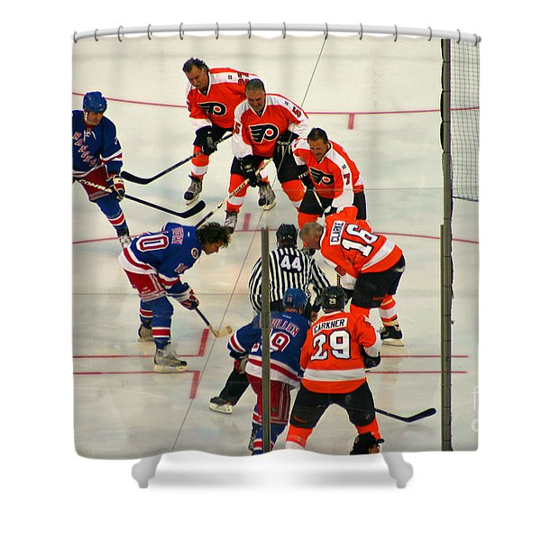 The Faceoff Shower Curtain by David Rucker