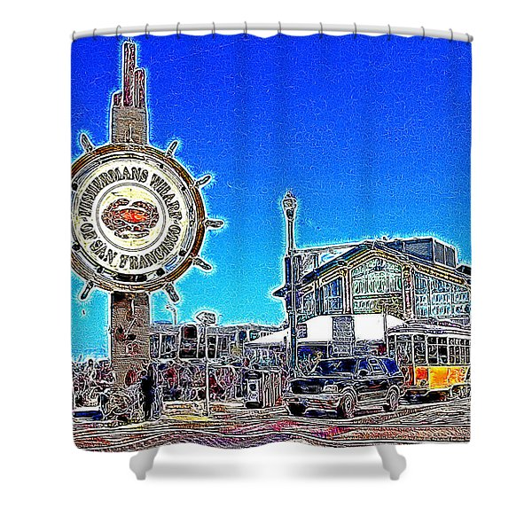 The Fishermans Wharf San Francisco California 7d14232 Artwork Shower Curtain by Wingsdomain Art and Photography