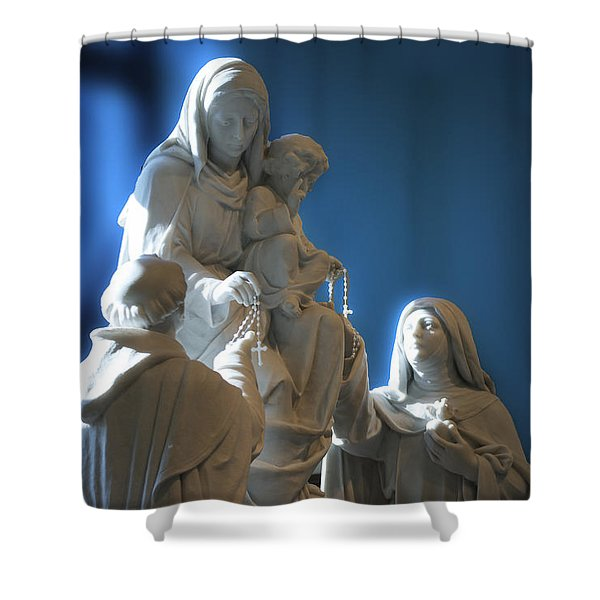 The Gift Of The Rosaries Statue Shower Curtain by Thomas Woolworth