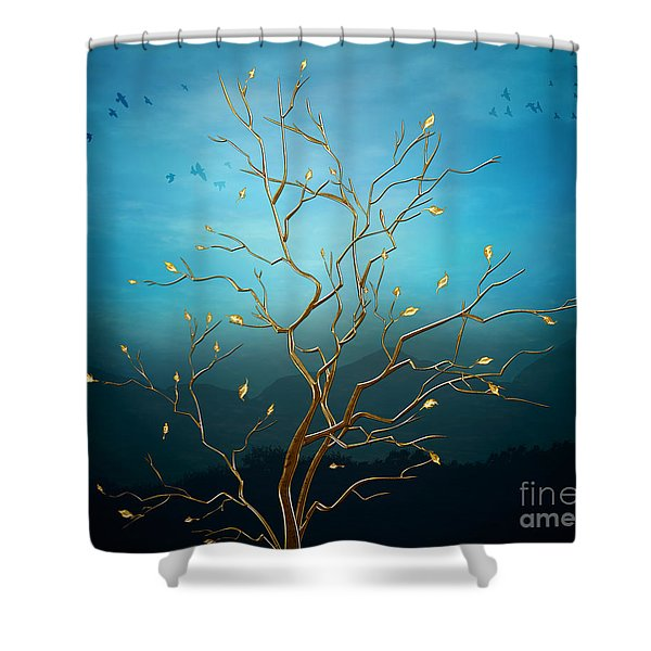 The Golden Tree Shower Curtain by Bedros Awak