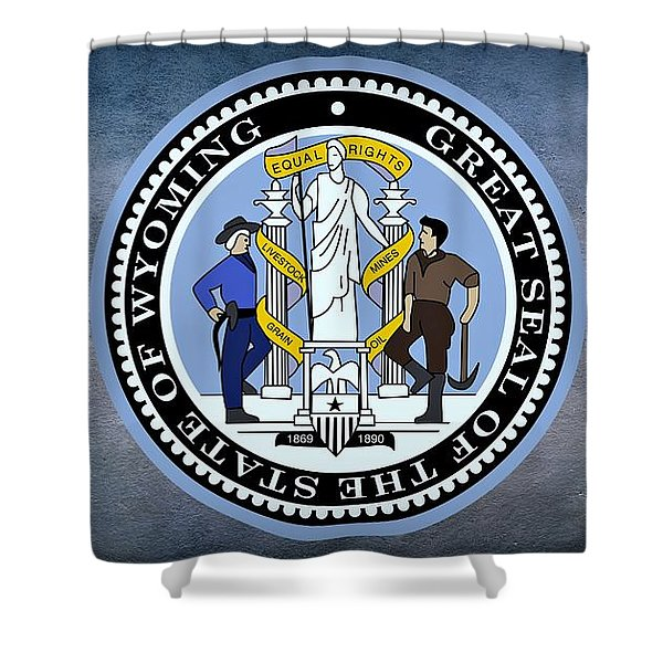 The Great Seal Of The State Of Wyoming Shower Curtain by Movie Poster Prints