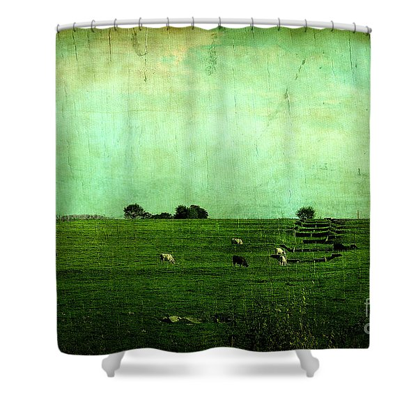 The Green Yonder Shower Curtain by Trish Mistric