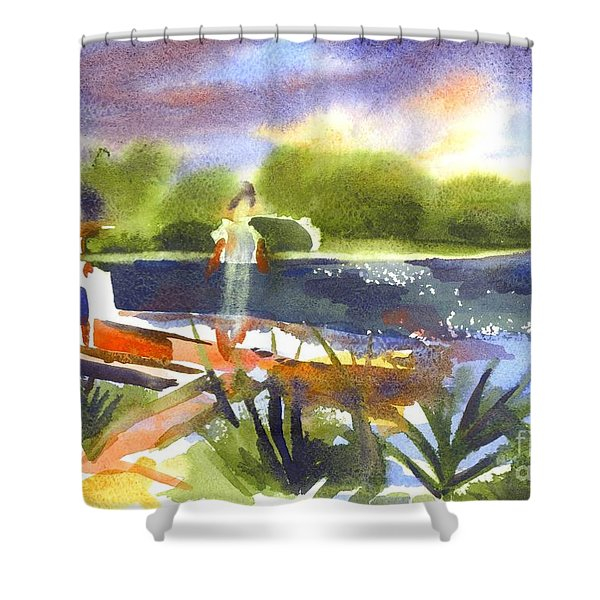 The Ideal Catch Shower Curtain by Kip DeVore