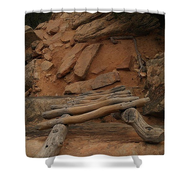 THE LADDER DOWN INTO SAPUPU CANYON Shower Curtain by Jeff  Swan
