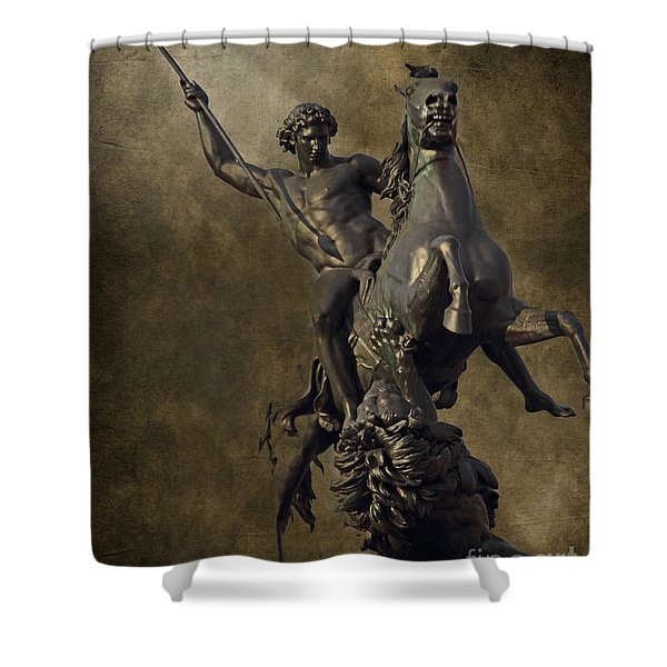 The Lion Fighter Shower Curtain by Tom Gari Gallery-Three-Photography