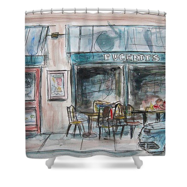 The Local Chat n Chew Shower Curtain by Tim Ross