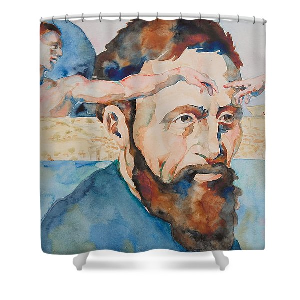 The Mind Of Michelangelo Shower Curtain by Michele Myers