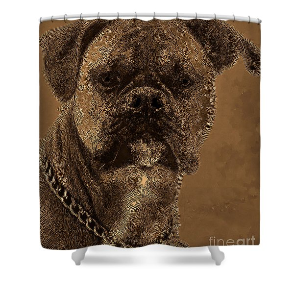 The Modern Boxer Bulldog Shower Curtain by Lesa Fine