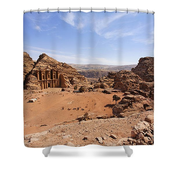 The Monastery Sculpted Out Of The Rock At Petra In Jordan Shower Curtain by Robert Preston