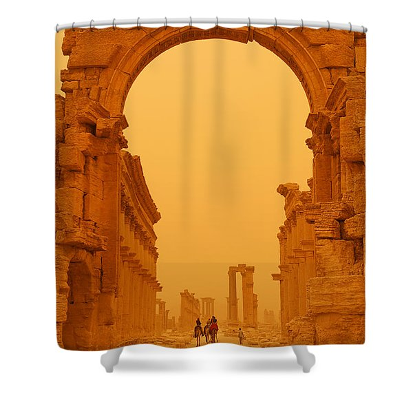 The Monumental Arch At Palmyra Syria In The Light After A Sandstorm Shower Curtain by Robert Preston