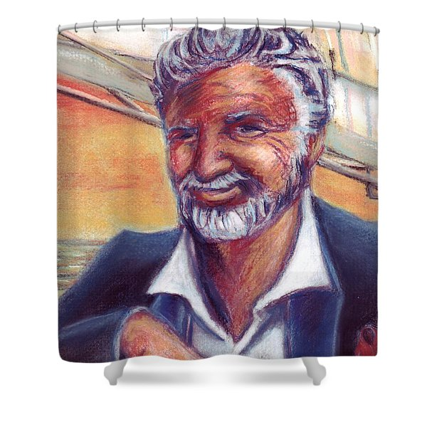 The Most Interesting Man in the World Shower Curtain by Samantha Geernaert