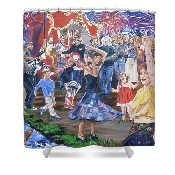 The Music Never Stopped Shower Curtain by Bryan Bustard