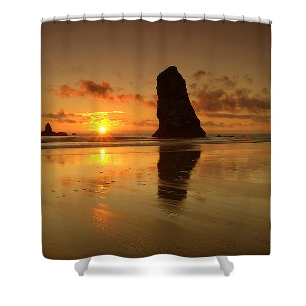 The Needles At Haystack - Cannon Beach Sunset Shower Curtain by Brian Harig