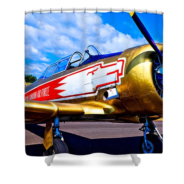 The North American T-6 Texan Airplane Shower Curtain by David Patterson