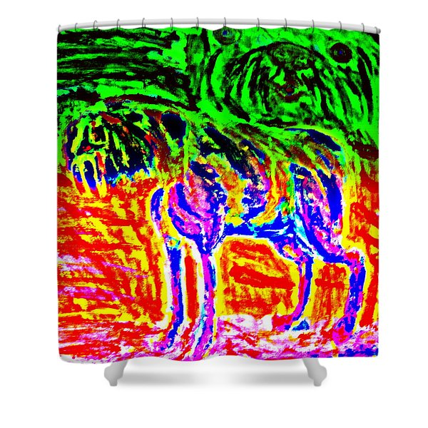 the old dog Shower Curtain by Hilde Widerberg