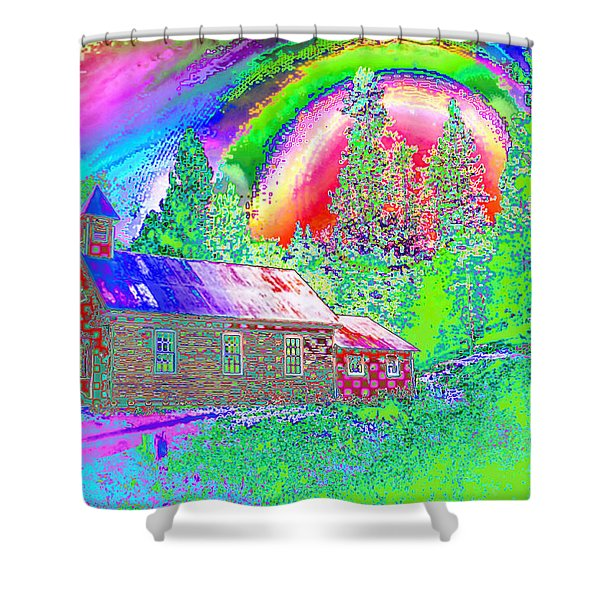 The Old Schoolhouse Library Again Shower Curtain by Joyce Dickens