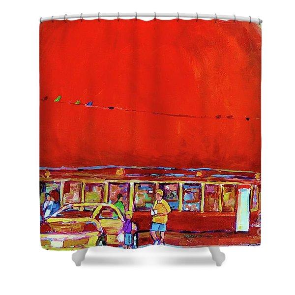 THE ORANGE JULEP MONTREAL SUMMER CITY SCENE Shower Curtain by CAROLE SPANDAU