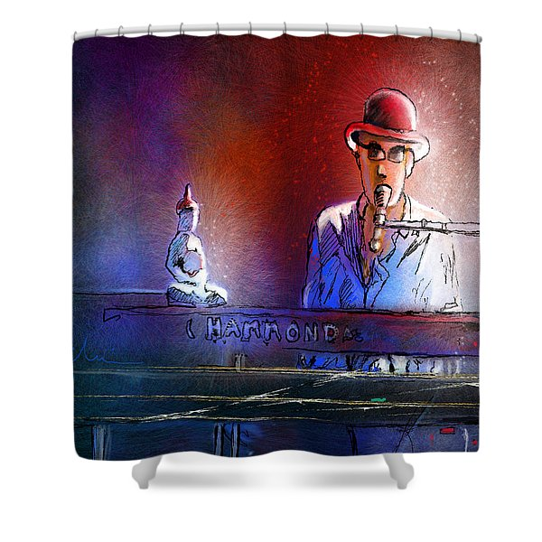 The Pianist 02 Shower Curtain by Miki De Goodaboom