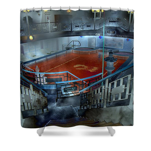 The Red Pool Shower Curtain by Betsy C  Knapp