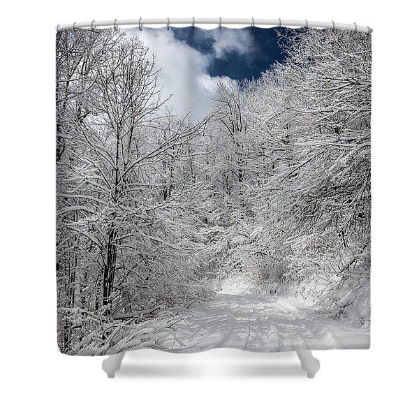 The Road To Winter Wonderland Shower Curtain by John Haldane