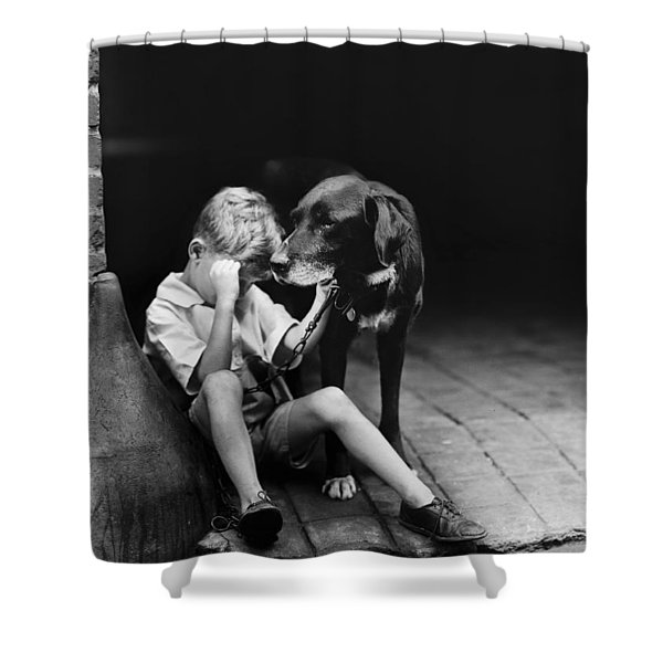 The sad boy circa 1921 Shower Curtain by Aged Pixel