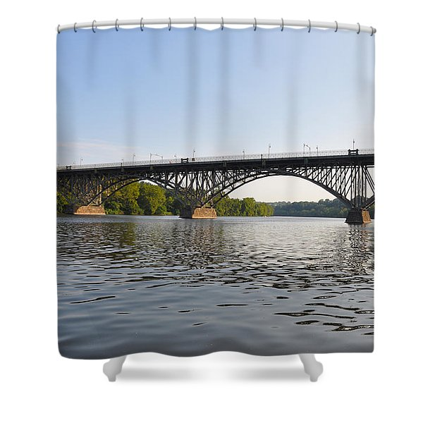The Schuylkill River and Strawbery Mansion Bridge Shower Curtain by Bill Cannon