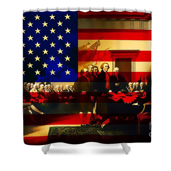 The Signing of The United States Declaration of Independence and Old Glory 20131220 Shower Curtain by Wingsdomain Art and Photography