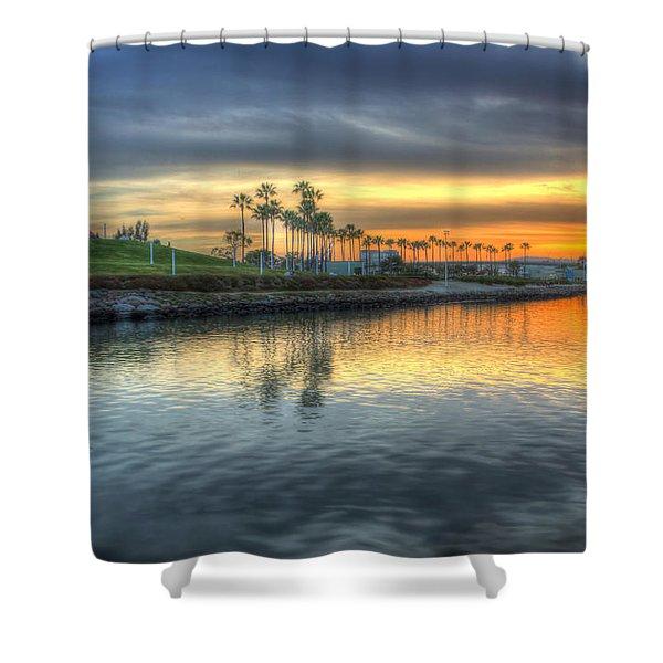 The Sinking Sun Shower Curtain by Heidi Smith