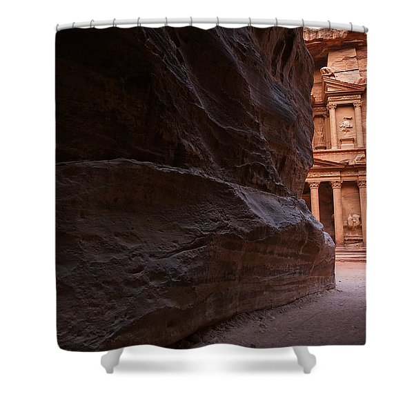 The Siq And Treasury At Petra Shower Curtain by Robert Preston