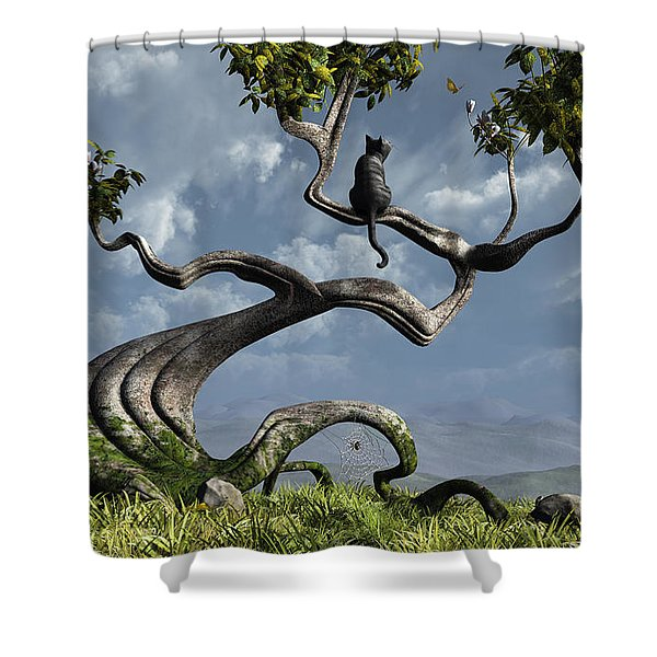 The Sitting Tree Shower Curtain by Cynthia Decker
