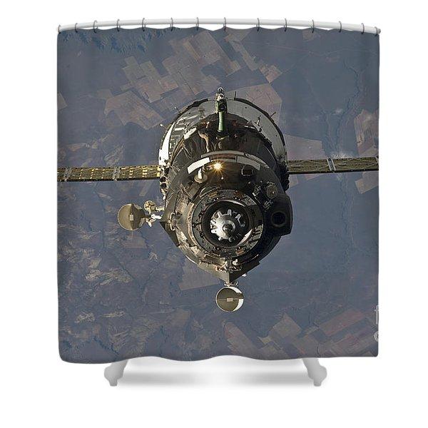 The Soyuz Tma-19 Spacecraft Shower Curtain by Stocktrek Images