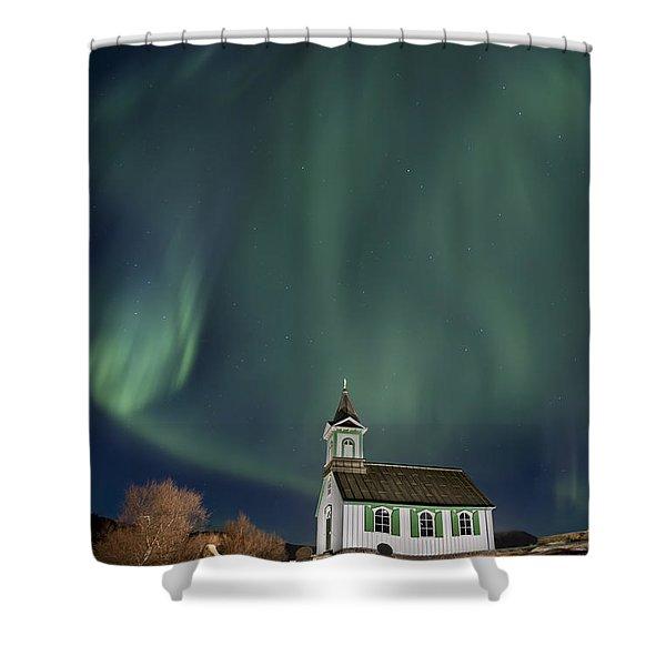 The Spirit of Iceland Shower Curtain by Evelina Kremsdorf