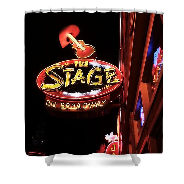 The Stage On Broadway In Nashville Shower Curtain by Dan Sproul